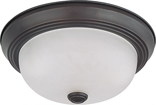 - Nuvo Lighting 60/3335 Two Light Interior Home Package Flush Dome with Frosted Glass, Mahogany Bronze, 11-Inch