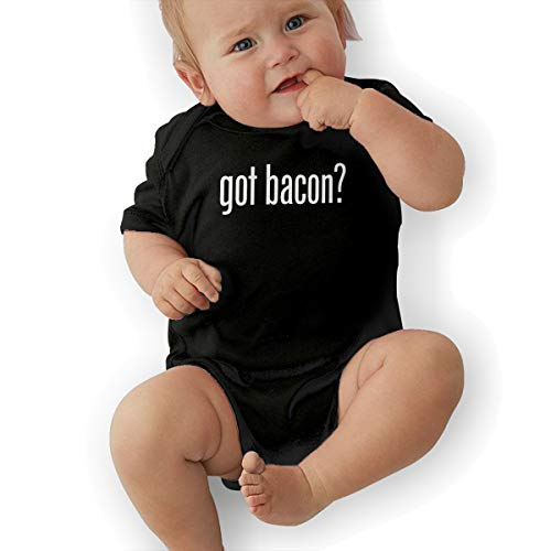 PA2PAFU GOT Bacon Baby Clothes Babies Boys' Short-Sleeve Creeper Rompers Black ()
