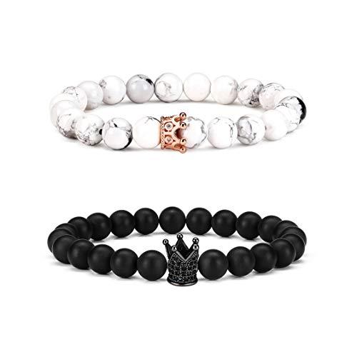 Byson 2 Pcs Couple Distance Relationship Bracelets Semi-Precious Gemstones Elastic Bracelet Energy Beads Stone Ying Yang Balance Bracelet Banglet for Lovers Promise Bracelets,Unisex