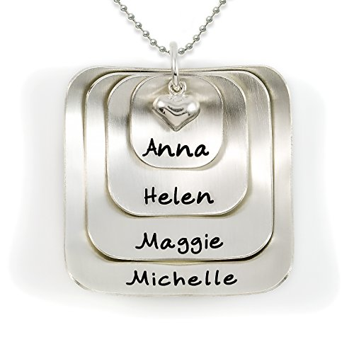 Square Lucky Four Sterling Silver Personalized Necklace Comes with 4 Customizable Charms and a Sterling Silver Heart Charm. Your Choice Of Chain. Gifts for Her, Mother, Grandmother, Wife - 4 Four Sterling Silver Charm