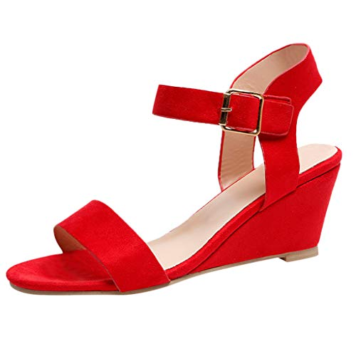 Women Roman Sandals, JOYFEEL ❤️ Ladies Peep Toe Solid Buckle Wedges Shoes Mid-Heel Ankle Strap Breathable Party Shoes Red