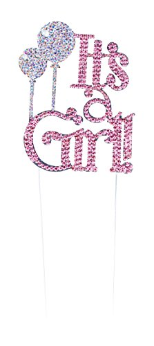 Gender Reveal Cake Topper - It's a Girl Baby Shower Cake Decoration, Crystal Rhinestone Design, Glitter Pink
