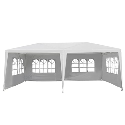 Outsunny 10x20ft Gazebo Canopy Garden Party Tent Outdoor Event Shelter w/ 4 Removable Window Side Walls White