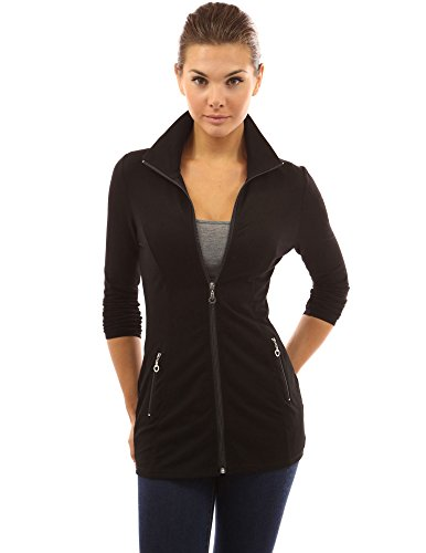 Casual Pockets Collar Black Jacket Women's Zip PattyBoutik wtHgqznBE