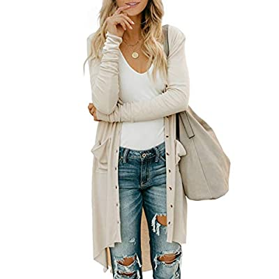 Dokotoo Womens Snap Button Down Pocketed Open Front Long Knited Cardigan Outerwear at Women's Clothing store