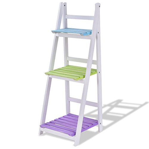 Custpromo Folding 3-Tier Display Shelf Wooden Ladder-Shaped Plant Flower Stand Rack Bookrack Storage Shelves