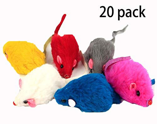 Kissmi 20 Pack Furry Cat Toys Mice Rattle Mice Cat Catcher Assorted Color