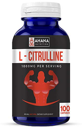 L-Citrulline Capsules by Ahana Nutrition – Nitric Oxide Booster Supplement to Help Support Circulation and Heart Health System (1000mg – 100 Capsules)