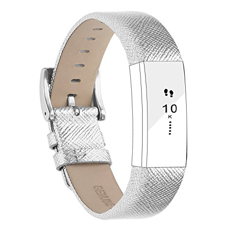 POY Replacement Bands Compatible for Fitbit Alta and Fitbit Alta HR, Genuine Leather Wristbands, Silver