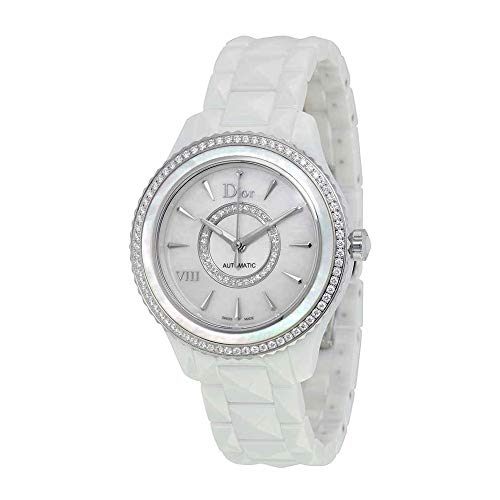 Dior VIII White Mother of Pearl Dial Ceramic Ladies Watch CD1245E9C001 (Christian Dior Ladies Watch)