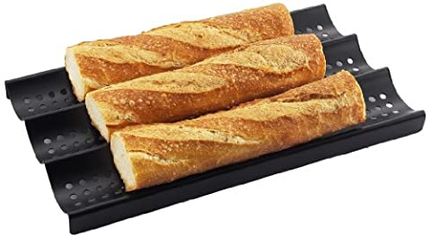 ZenUrban 870002 3-Loaf Perforated Baguette French Nonstick Bread Pan, 16 by 9-Inch - Non Stick French Bread Pan
