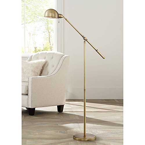 Dawson Modern Pharmacy Floor Lamp Antique Brass Adjustable Boom Arm and Head for Living Room Reading Bedroom Office - 360 Lighting (Lamp Arc Gold)