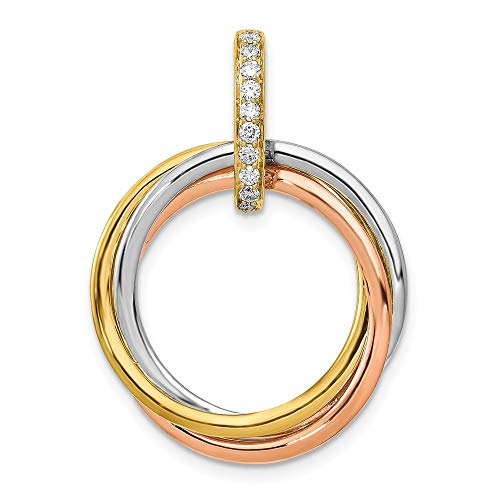 1/10-Carat Diamond Intertwined Circles Pendant in 14K Tri-color Gold from Roy Rose Jewelry