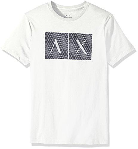 A|X Armani Exchange Men's Crew quited Logo tee, White, XL ()