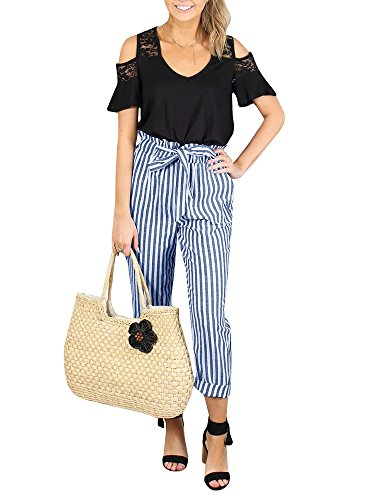 Womens High Waisted Plaid Striped Palazzo Pants Casual Tie Waist Cropped Trouser with Pockets Navy Blue ()