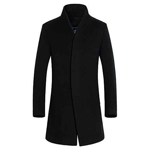 DAVID.ANN Men's Wool French Coat Slim Fit Long Jacket Single Breasted Overcoat,Black,X-Large