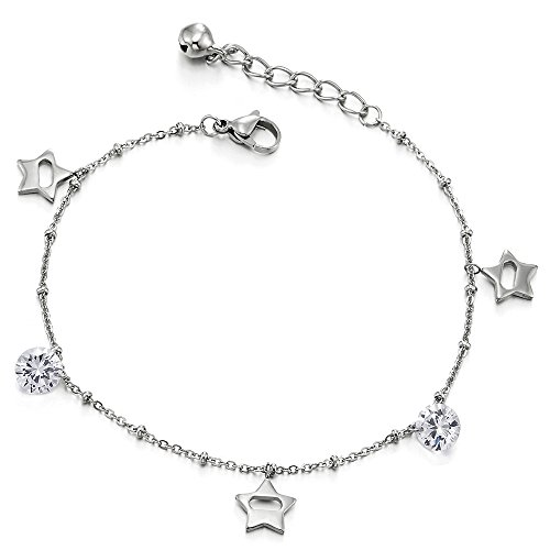 COOLSTEELANDBEYOND Stainless Steel Anklet Bracelet with Dangling Charm of Cubic Zirconia and Pentagram Stars (Dangling Star Anklet)