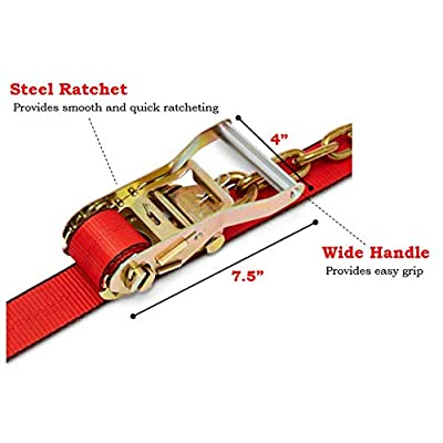 Lasso Style Auto - Tie Down Straps for Trailers - Set of 4 - Ratchet Strap - Safety Approved - Industrial Grade - 2