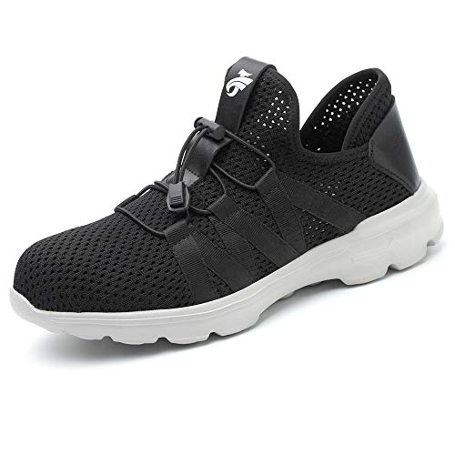 SUADEX Work Shoes Men, Breathable Womens Steel Toe Shoes Lightweigh Comfortable Toe Sneakers Puncture Proof Construction Safety Shoes,Black-38