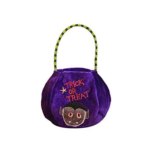 Fablcrew 1 Pcs Halloween Candy Basket Gift Bag Candy Bucket Bag for Kids Halloween Party Decoration Purple Vampire -