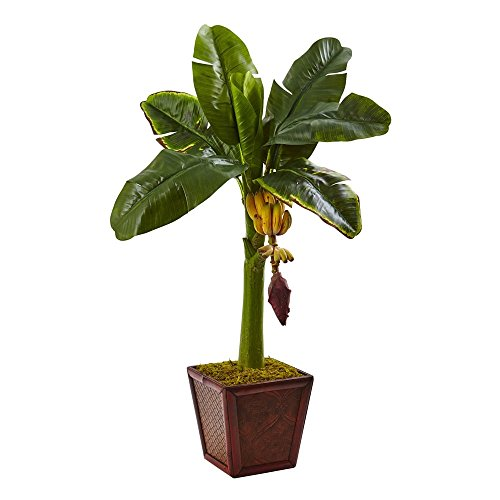 MD Group Artificial Banana Tree in Wooden Planter Realistic Look with Faux Fruit In/Outdoor Deco by MD Group