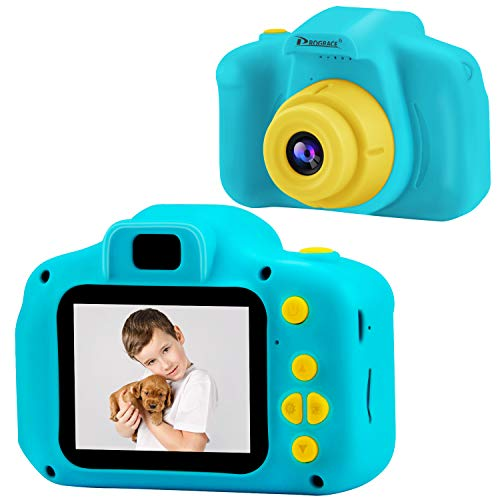 PROGRACE Kids Camera Children Digital Cameras for Boys Birthday Toy Gifts 4-12 Year Old Kid Action Camera Toddler Video Recorder 1080P IPS 2 Inch (Blue Light Filter Ipod Touch)