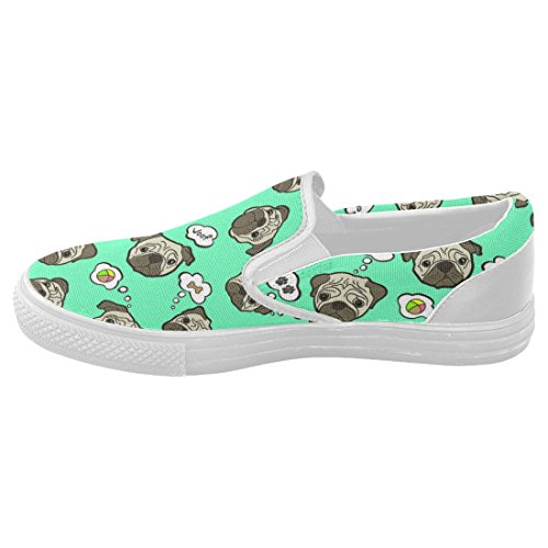 Interestprint Söt Mops Avslappnad Slip-on Canvas Womens Modegymnastikskor
