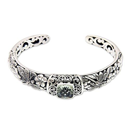 (NOVICA Prasiolite .925 Sterling Silver Cuff Bracelet 'Dragonfly Frangipanis')