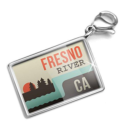 Clip on Charm & Bracelet Set USA Rivers Fresno River - California Lobster - River Fresno