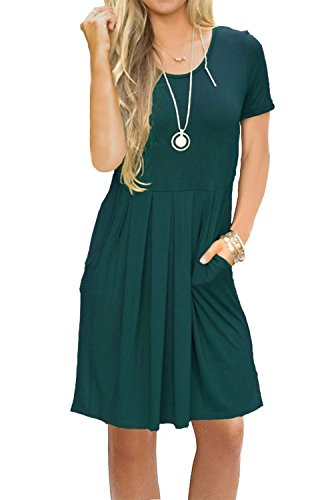Sleeve Green Casual Dress Loose Swing Dark Pockets Pleated Short Length s Women AUSELILY with Knee qwt41xRgCg