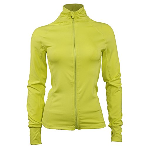 Womens Solid Track Zipper Activewear Running Fitted Zip-Up Jacket (Neon Lime, Large) by Active USA