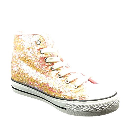 cm Shiny Angkorly Flat Trainers Shoes Glitter 2 Pink Women's 5 Fashion Heel qWvFvpXwc