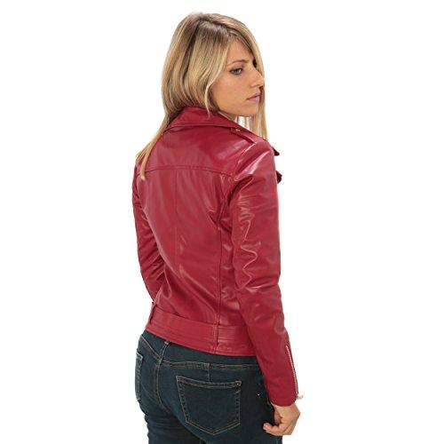 Classico Slim In Italy Vera Made Pelle Vestibilità Da Chiodo Rosso fit Donna gdqwx1g0