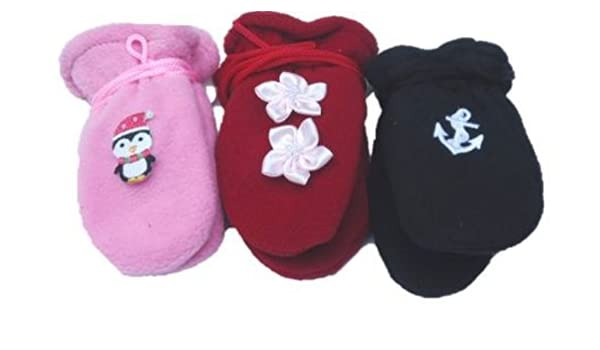 Set of Three Pairs Fleece Mittens for Infants Ages 6-18 Months with Appliques
