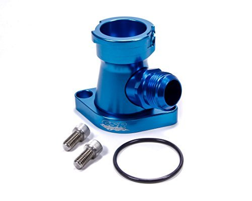CSR Performance Products 913AN16B Blue Anodized 360 Degree Swivel Thermostat Housing with 16AN for Chevy Big/Small Block Engines by CSR Performance Products (Image #1)'