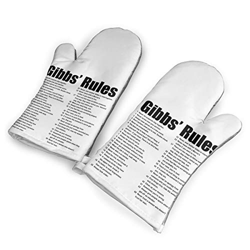 TRENDCAT NCIS Gibbs' Rules Oven Mitts/Gloves - Heat Resistant Handle Hot Oven/Cooking Items Safely - Soft Insulated Deep Pockets Pack of 2 -