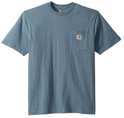 Carhartt Men's K87 Workwear Pocket Short Sleeve T Shirt, Steel Blue, Large -