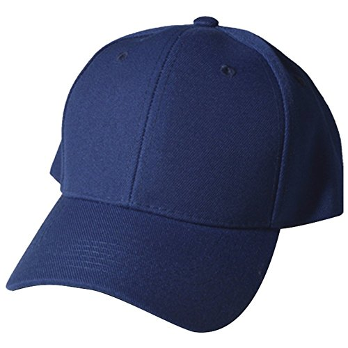 Quality Merchandise Plain Baseball Blank Cap Solid Color Velcro Adjustable, NAV - Cap Quality