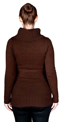 Zeta Ville - Premamá suéter túnica de punto pulóver cuello alto - mujer - 358c Marrón