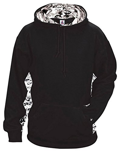 (Badger Sport Adult Unisex Digital Camo Hooded Sweatshirt XXXX-Large Black/White/Digital)