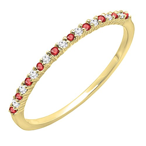 DazzlingRock Collection 10K Yellow Gold Round Ruby & White Diamond Ladies Anniversary Wedding Stackable Ring (Size 6.5) (Wedding Band Anniversary Ruby)