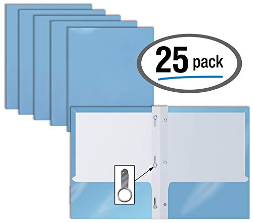 2 Pocket Glossy LIGHT BLUE Paper Folders with Prongs, 25 Pack, by Better Office Products, Letter Size, High Gloss Light Blue Paper Portfolios with 3 Metal Prong Fasteners, Box of 25, Glossy Light Blue