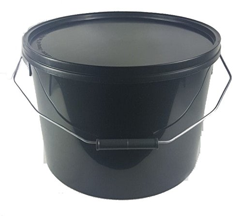 5 X 10 LITRE BLACK PLASTIC BUCKET WITH LID BUCKET RPC