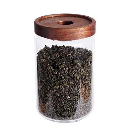 Glass Tea Canister, 25 FL OZ/ 750ml Bulk Food Storage Jar with Airtight Acacia Lid, Glass Food Container for Loose Leaf Tea, Coffee Bean, Weed(6 inch high) (Containers Tea Coffee And)