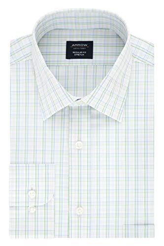 Arrow Men's Dress Shirt Regular Fit Stretch Check, Celery, 15