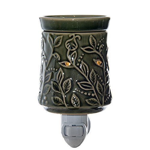 Green Pluggable Fragrance Warmer - Plug-In Wax Melter & Aroma Diffuser - Warms & Melts Cubes Tarts & Oils - Tart Warmer - Heats Scented Cubes - 15w Night Light Included