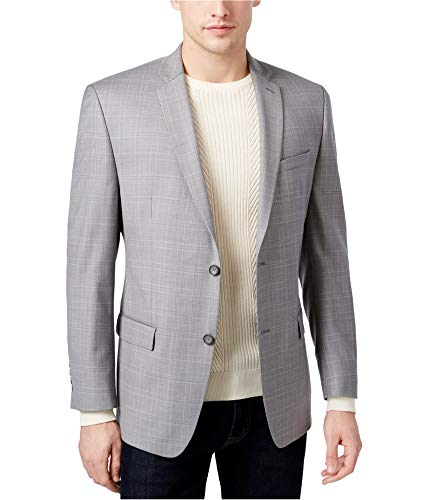 Marc New York Mens Windowpane Two Button Blazer Jacket, Grey, 40 Regular ()