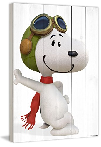 Peanuts MH-PNTS-15M-WW-24 Snoopy Pilot Painting Print On White Wood, Multicolor, 16'' x 24'' by Marmont Hill