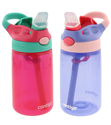 Contigo Kids Autospout Gizmo Water Bottle, 14oz (Cherry Blossom/Lavender) - 2 Pack