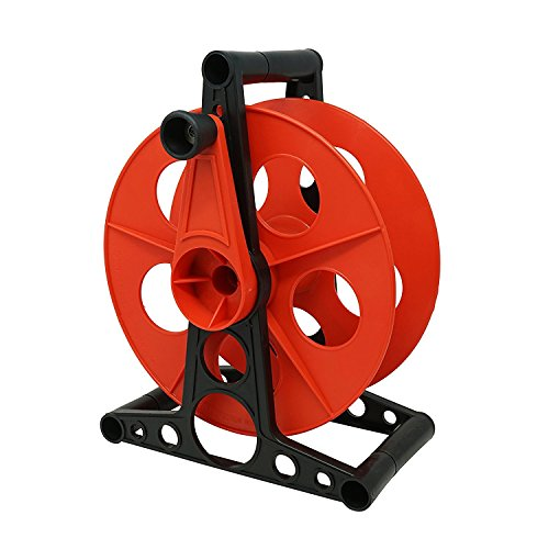 Cord Coleman Cable - Coleman Cable E-103 Cord Storage Wheel, Holds Up To 150 Feet of 16/3 Gauge Extension Cord Or 125 Feet of 14/3 Gauge Cord, Holiday Lights, rope, Hose Reel Storage and Light Wire, Heavy Duty Plastic